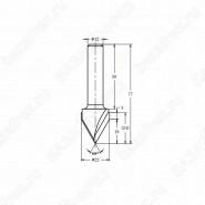 Фреза алмазная филёночная V образная TD-031 60° ROTIS 312212.02